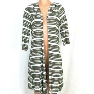 Chalet Open Cardigan Hoodie Duster Taupe Striped